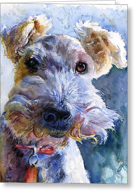 Witness Greeting Cards - Fox Terrier Full Greeting Card by John D Benson