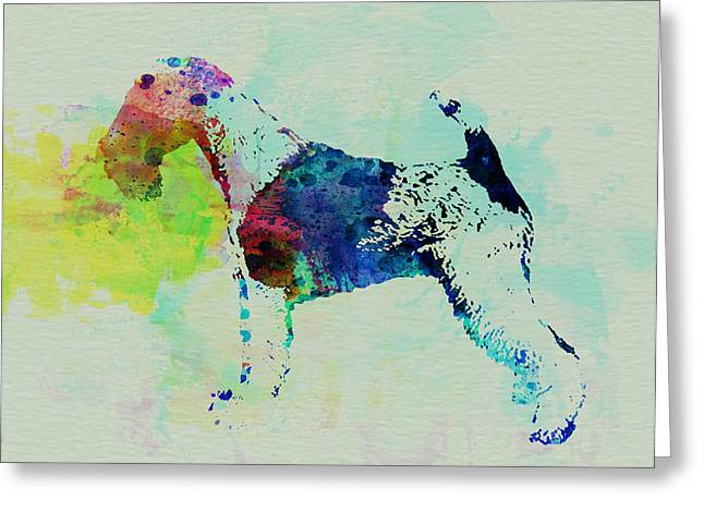 Pet Greeting Cards - Fox Terrier Watercolor Greeting Card by Naxart Studio
