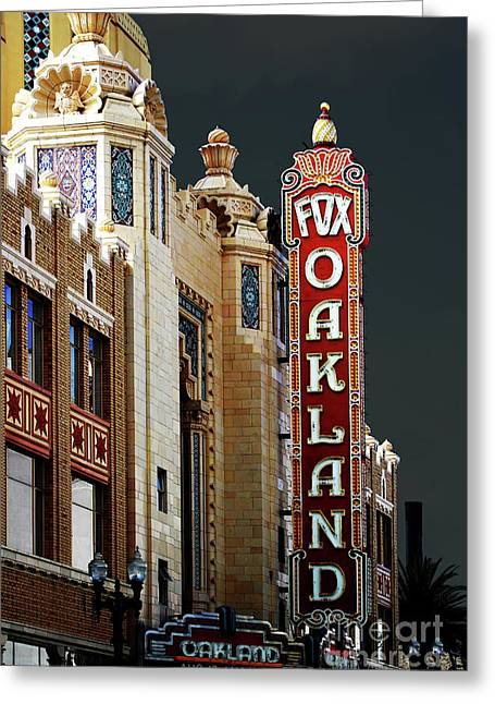 Bayarea Greeting Cards - Fox Theater . Oakland California Greeting Card by Wingsdomain Art and Photography