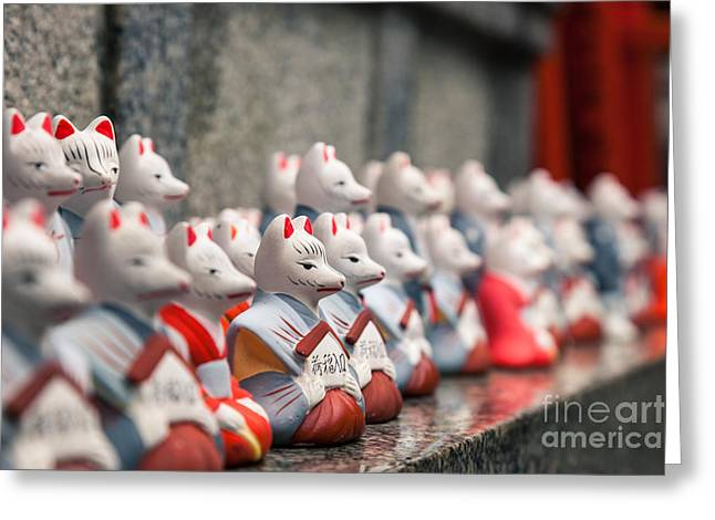 Kyoto Greeting Cards - Foxes at Fushimi Inari shrine Kyoto Japan Greeting Card by Fototrav Print