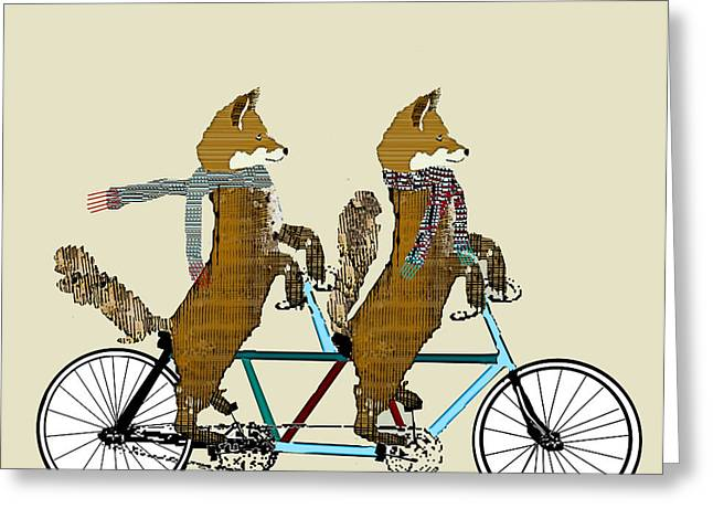 Boyfriend And Girlfriend Greeting Cards - Foxes Lets Tandem Greeting Card by Bri Buckley