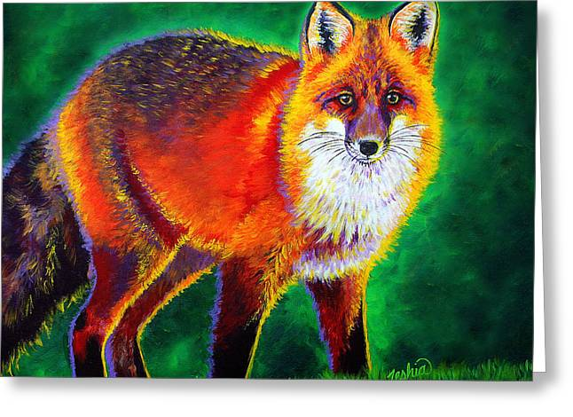Teshia Art Greeting Cards - Foxfire Greeting Card by Teshia Art