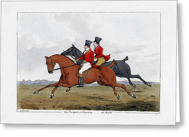 Prospects Mixed Media Greeting Cards - Foxhunting - All Right Greeting Card by Henry Alken