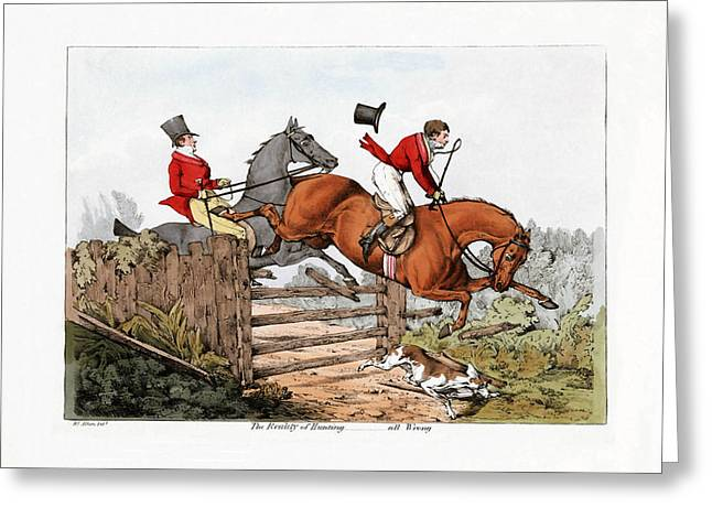 Henry Mixed Media Greeting Cards - Foxhunting - 2 Greeting Card by Charles Ross