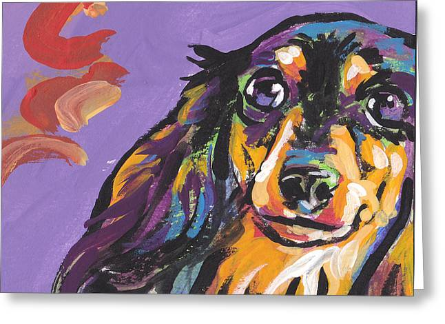 Doxie Greeting Cards - Foxie Doxie Greeting Card by Lea