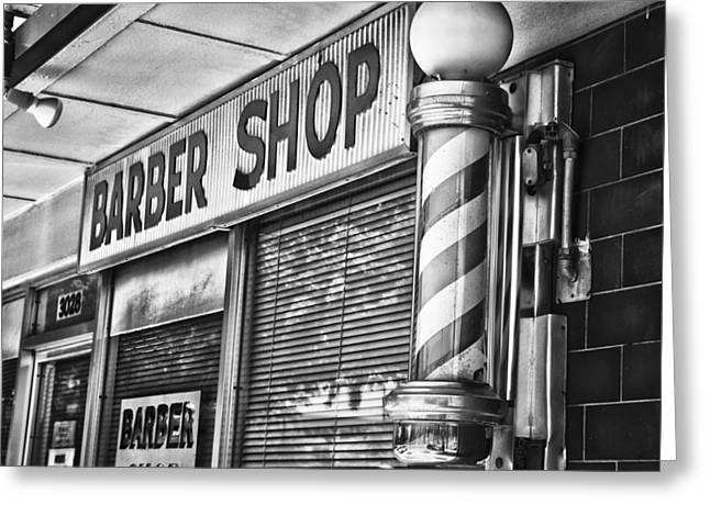 Store Fronts Greeting Cards - Foxs Barber Shop Black and White Greeting Card by David Waldo