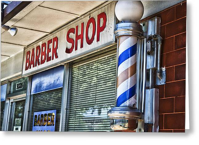 Store Fronts Greeting Cards - Foxs Barber Shop Greeting Card by David Waldo