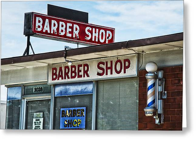 Store Fronts Greeting Cards - Foxs Barber Shop Neon Greeting Card by David Waldo