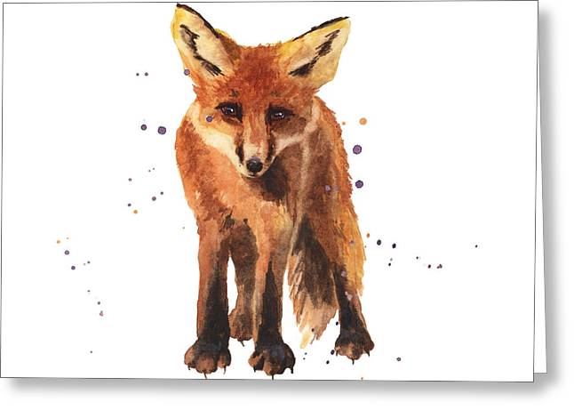 Fox Cubs Greeting Cards - Foxy Friend Greeting Card by Alison Fennell