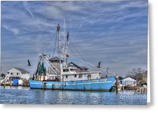 Shrimpers Greeting Cards - Shrimp Boat at Port Greeting Card by Benanne Stiens