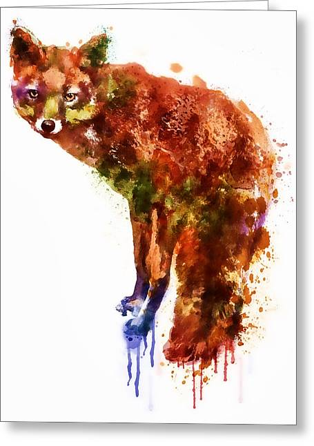 Modern Digital Art Digital Art Greeting Cards - Foxy Lady watercolor Greeting Card by Marian Voicu