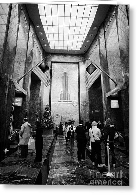 Manhatan Greeting Cards - Foyer Of The Empire State Building New York City Greeting Card by Joe Fox