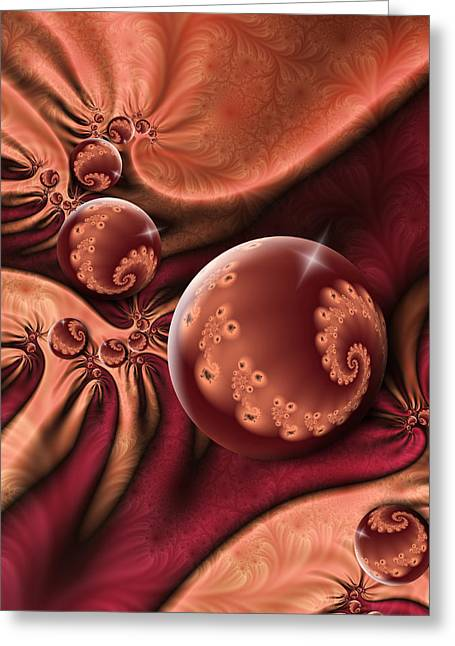 Red Wine Prints Greeting Cards - Fractal A Touch of Orient Greeting Card by Gabiw Art