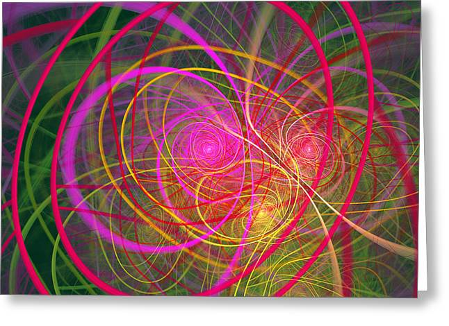Energy Vortex Greeting Cards - Fractal - Abstract - Loopy Doopy Greeting Card by Mike Savad