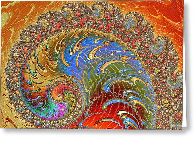 Blue Green Wave Greeting Cards - Fractal Art - Bejeweled Greeting Card by HH Photography of Florida