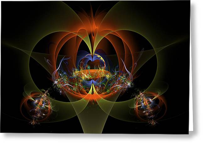 Computer Generated Abstract Greeting Cards - Fractal Art - Psychedelic Abstract Image - Digital Art - Red Yellow Black  Greeting Card by Keith Webber Jr