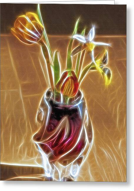 Interior Still Life Mixed Media Greeting Cards - Fractal Bouquet Greeting Card by Steve Ohlsen