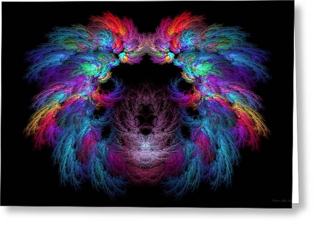 Custom Mirror Greeting Cards - Fractal - Christ - Angels Wings Greeting Card by Mike Savad