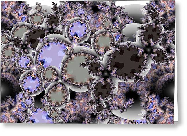 Violet Blue Greeting Cards - Fractal Cluster Greeting Card by Ron Bissett