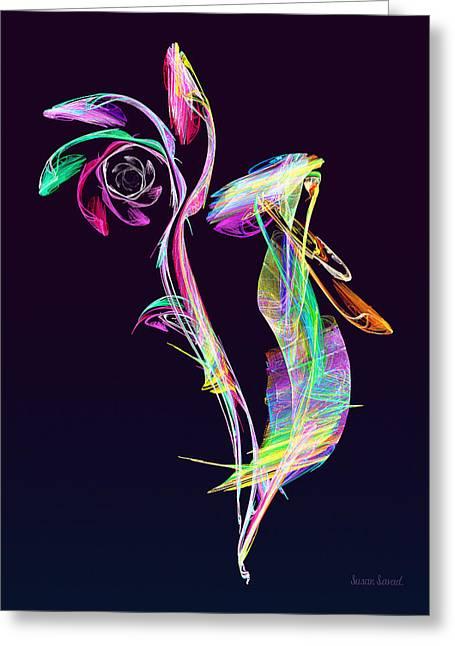 Fractal - Cockatoo Greeting Card by Susan Savad