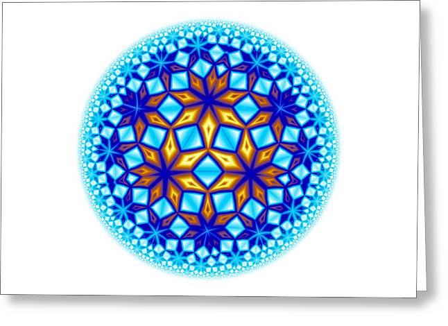 Christmas Abstract Greeting Cards - Fractal Escheresque Winter Mandala 7 Greeting Card by Hakon Soreide