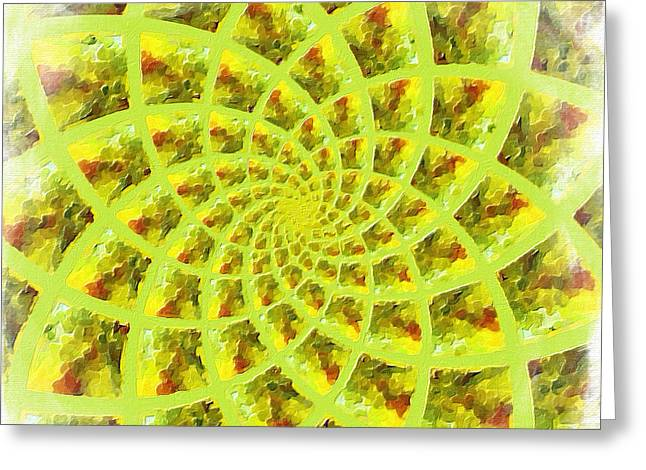 Best Sellers -  - Green And Yellow Abstract Greeting Cards - Fractal Flower Greeting Card by Bonnie Bruno