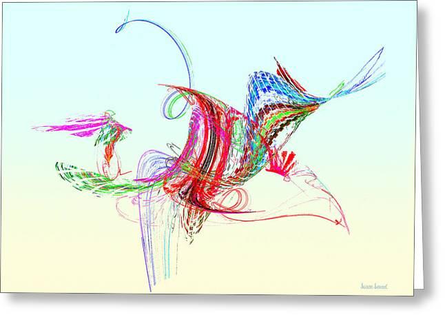 Fractal - Flying Bird Greeting Card by Susan Savad