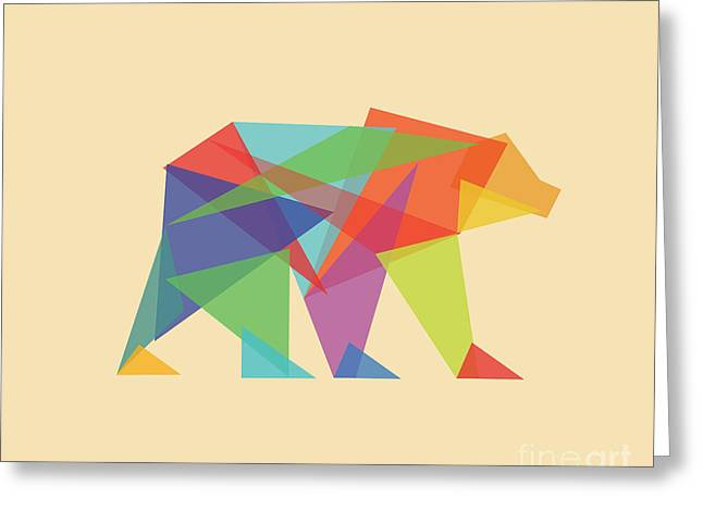 Colorful Geometric Greeting Cards - Fractal geometric Bear Greeting Card by Budi Kwan