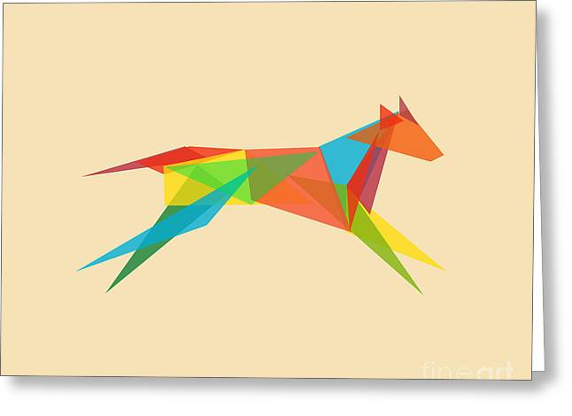 Shapes Digital Greeting Cards - Fractal geometric dog Greeting Card by Budi Kwan