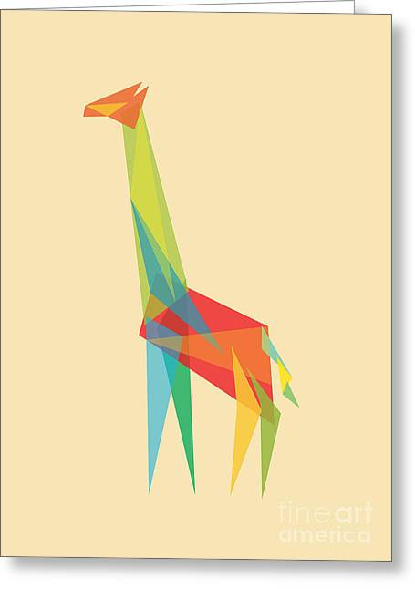Shapes Digital Greeting Cards - Fractal Geometric Giraffe Greeting Card by Budi Kwan