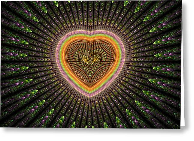 Geometric Digital Art Greeting Cards - Fractal Heart 1 Greeting Card by Sandy Keeton