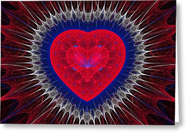 Geometric Digital Art Greeting Cards - Fractal Heart 3 Greeting Card by Sandy Keeton