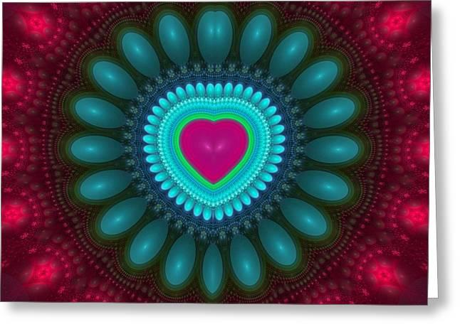 Geometric Digital Art Greeting Cards - Fractal Heart 4 Greeting Card by Sandy Keeton