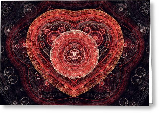 Suburban Digital Art Greeting Cards - Fractal Heart Greeting Card by Martin Capek