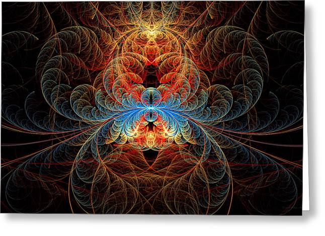 Fractal - Insect - Black Widow Greeting Card by Mike Savad