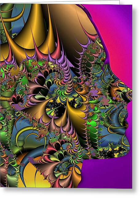 Maths Greeting Cards - Fractal pattern and human face Greeting Card by Science Photo Library