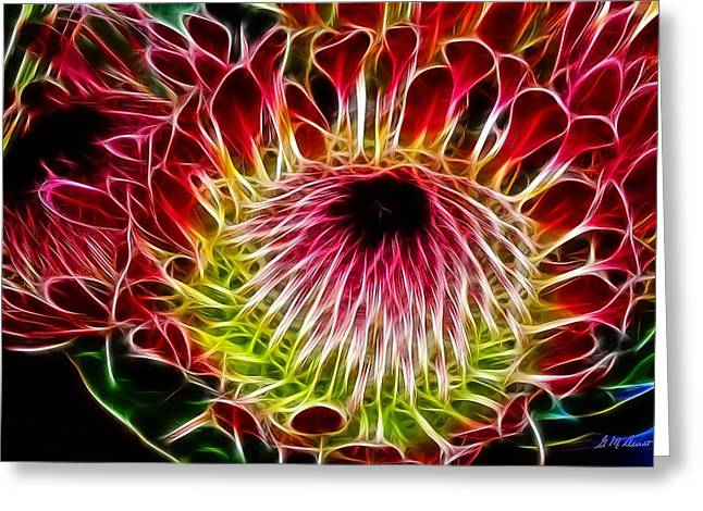Proteas Greeting Cards - Fractal Protea Greeting Card by Michael Durst