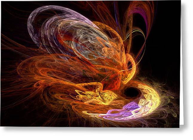 Fashion Abstraction Greeting Cards - Fractal - Rise of the phoenix Greeting Card by Mike Savad