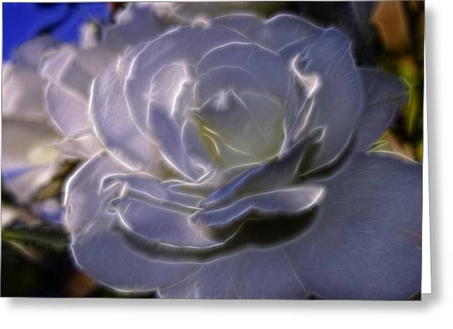 Glowing Floral Greeting Cards - Fractal Rose Greeting Card by Camille Lopez