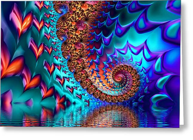 Fractal Sea Of Love With Hearts Greeting Card by Matthias Hauser