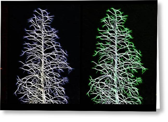 Bare Trees Mixed Media Greeting Cards - Fractal Seasons - Inverted Tetraptych Greeting Card by Steve Ohlsen