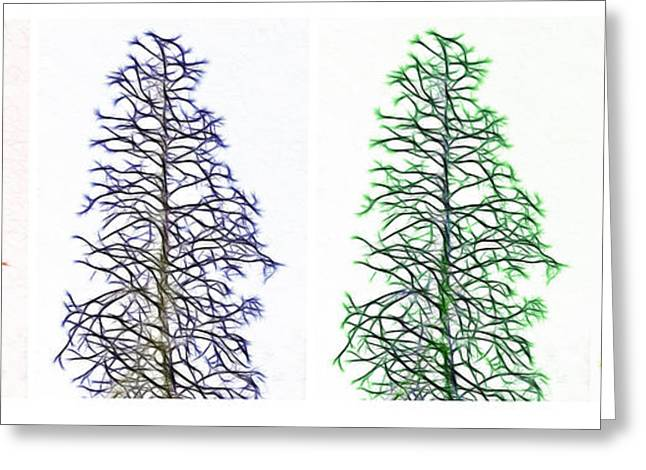 Bare Trees Mixed Media Greeting Cards - Fractal Seasons - Tetraptych Greeting Card by Steve Ohlsen