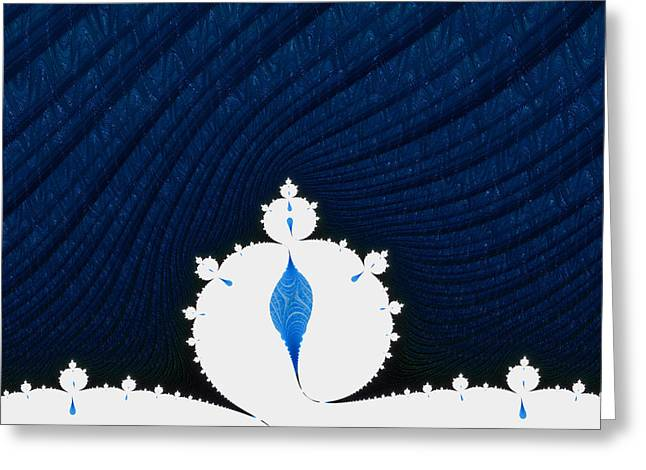 Snowstorm Digital Art Greeting Cards - Fractal snowmen in heavy snowstorm Greeting Card by Matthias Hauser