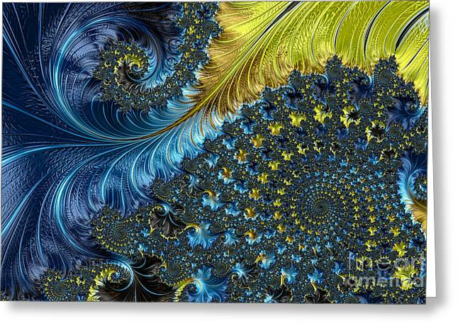 Repetition Greeting Cards - Fractal Spiral 3 - A Fractal Abstract Greeting Card by Ann Garrett