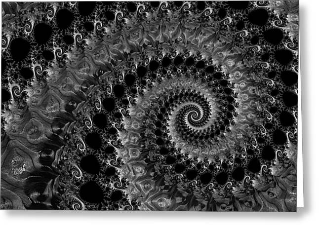 Helix Greeting Cards - Fractal spiral black grey and white Greeting Card by Matthias Hauser