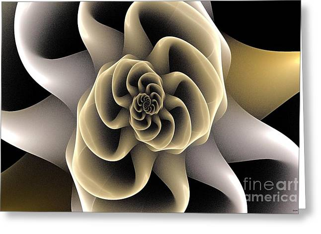 Abstract Digital Light Trails Greeting Cards - Fractal Spiral Bloom Greeting Card by Elizabeth McTaggart