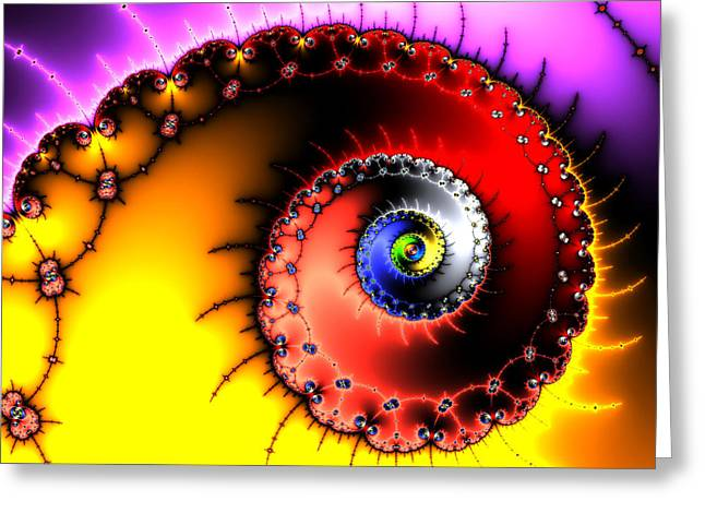 Helix Digital Art Greeting Cards - Fractal spiral bold colors yellow red and purple Greeting Card by Matthias Hauser