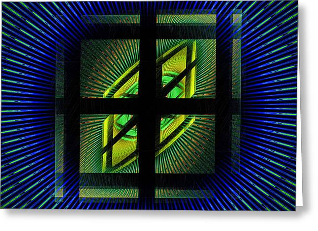 Vortex Greeting Cards - Fractal Squares And Vortex Pattern Greeting Card by Keith Webber Jr