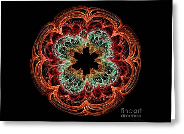Fractal Orbs Greeting Cards - Fractal Symmetry Greeting Card by Kaye Menner