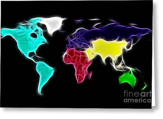 Fractal Globes Greeting Cards - Fractal World map Greeting Card by Delphimages Photo Creations